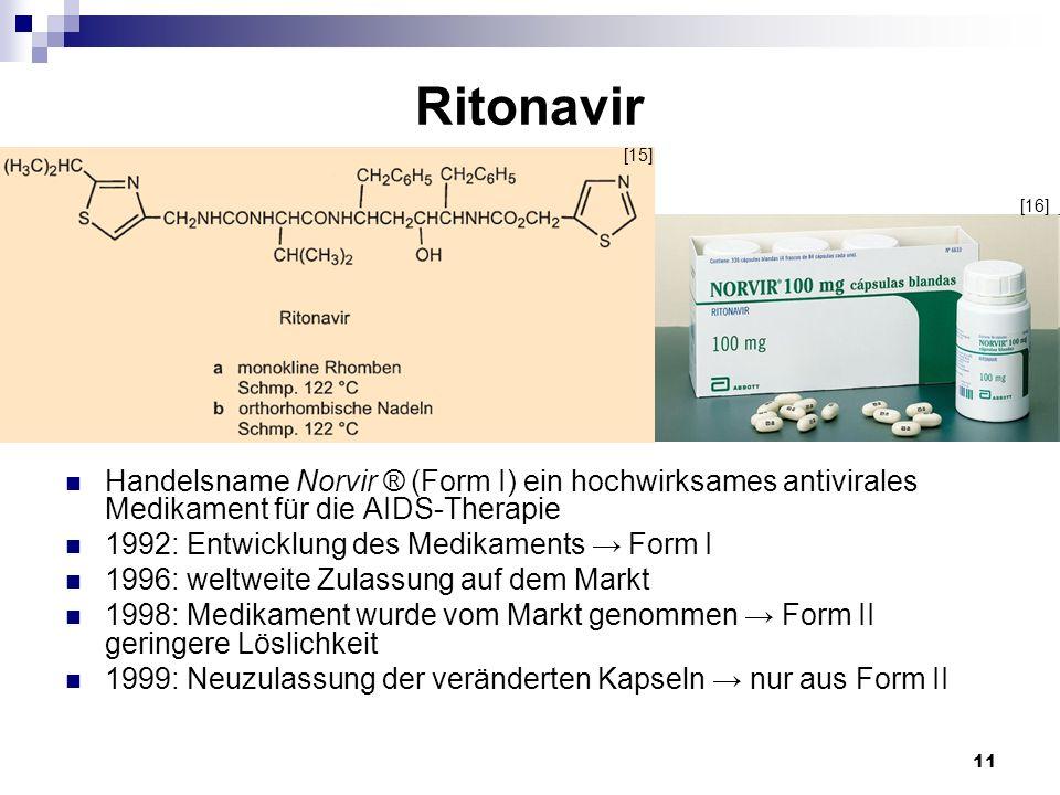 Ritonavir[15] [16] Handelsname Norvir ® (Form I) ein hochwirksames antivirales Medikament für die AIDS-Therapie.